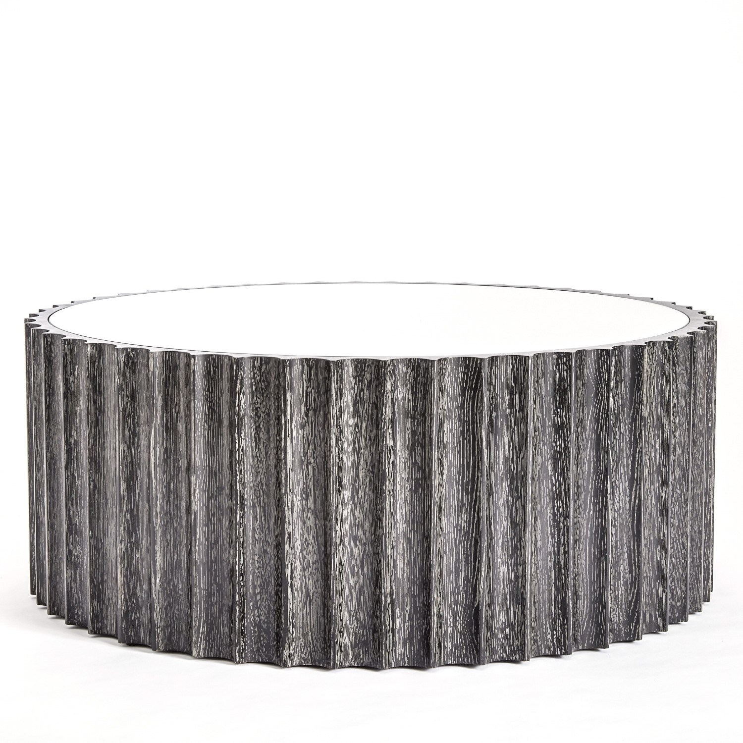 Global Views Reflective Column Cocktail Table Black Cerused Oak 2563