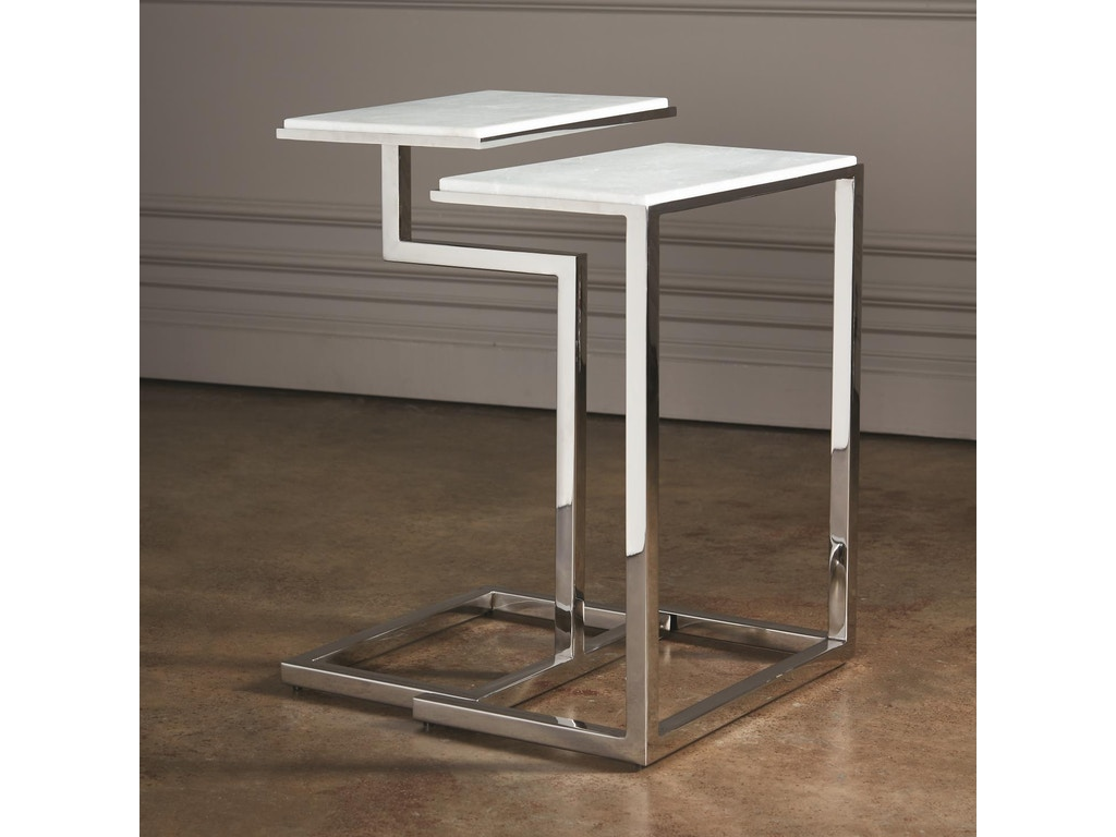 new style 50dcb 8fd7a S/2 C-nesting Tables-Nickel 9.93170