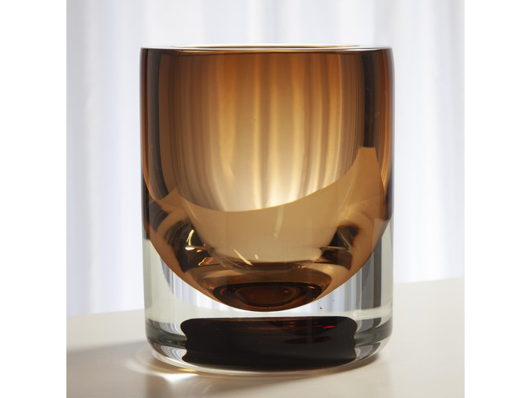Global Views Accessories Thick Cylinder Vase Amber Tobacco Small 6 60432 Hamilton Park Interiors
