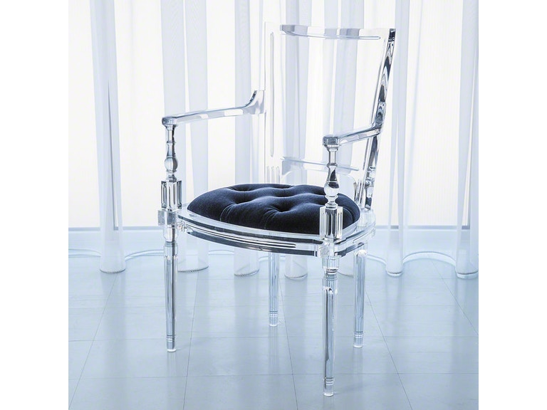 Global Views Marilyn Acrylic Arm Chair Admiral Blue GV331164 The Dining Room