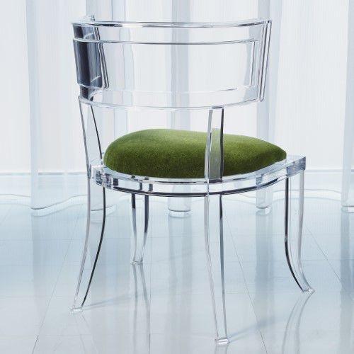 Global Views Dining Room Klismos Acrylic Chair Emerald Green