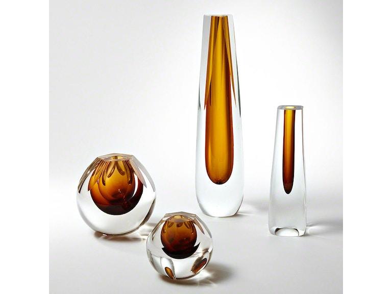 Triangle Cut Glass Vase Amber Gv660269