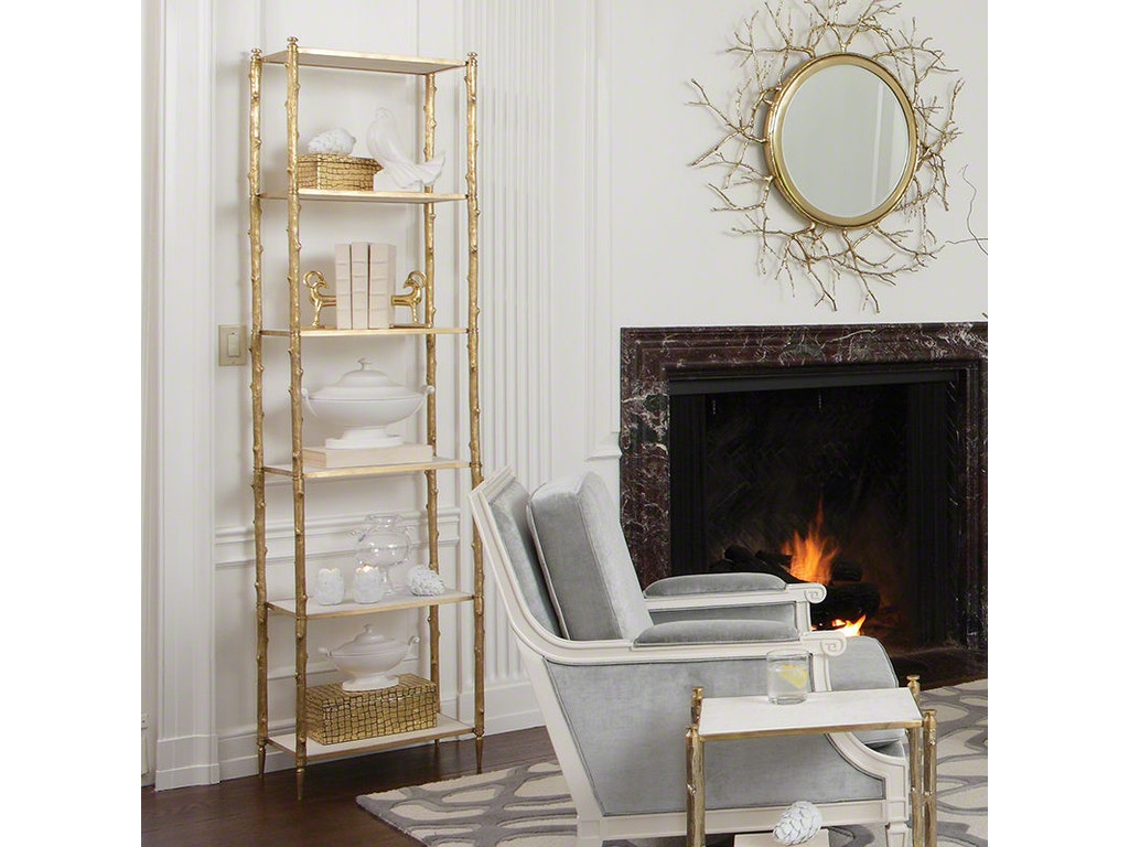 global views living room arbor etagere brass and white marble shofer 39 s baltimore md. Black Bedroom Furniture Sets. Home Design Ideas