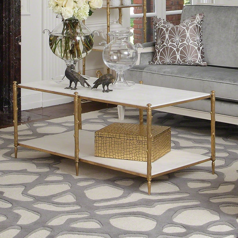 Arbor Cocktail Table-Brass/White Marble GV882036