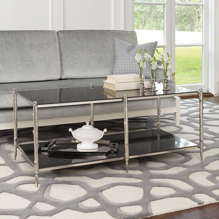 Global Views Link Console: Global Views Living Room Arbor Cocktail Table-Nickel And
