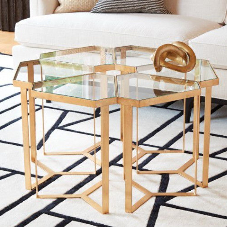 Global Views Link Console: Global Views Living Room Tri-Hex Table-Gold Leaf 8.82339