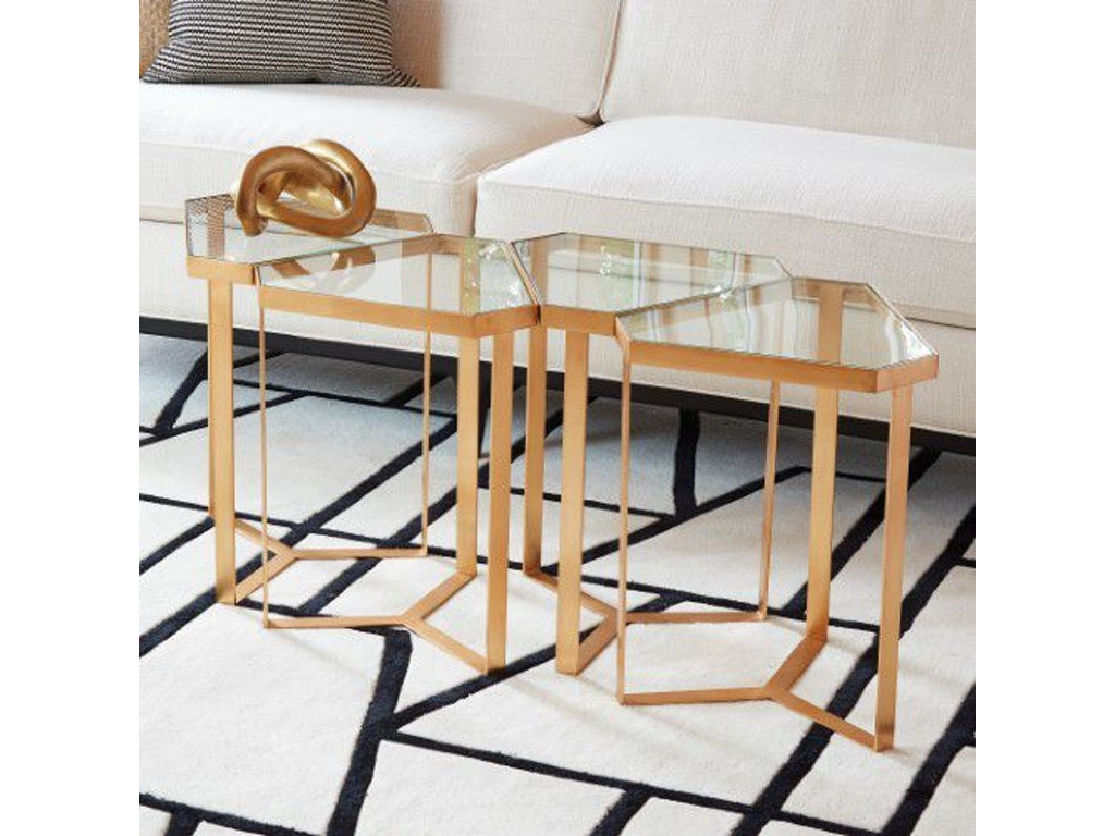 Global Views 8 82339 Tri Hex Table Gold Leaf Glass
