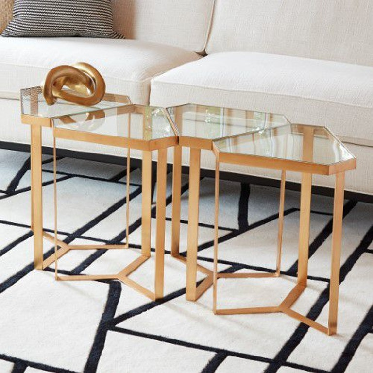 Global Views 8 82339 Tri Hex Table Gold Leaf Interiors