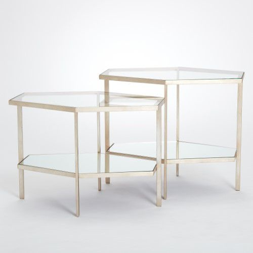 Merveilleux Global Views Hexagon Table Silver Leaf Tall GV882426 From Walter E. Smithe  Furniture