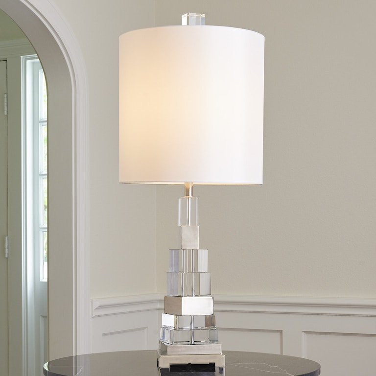 Global Views Lamps And Lighting Twisted Crystal Lamp Nickel