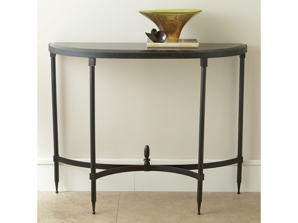 Global Views Living Room Fluted Iron Collection Console With Granite Top  GV880865 Walter E. Smithe Furniture + Design