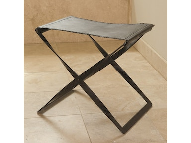 Global Views Folding Stool-Iron And Brown Leather 9679