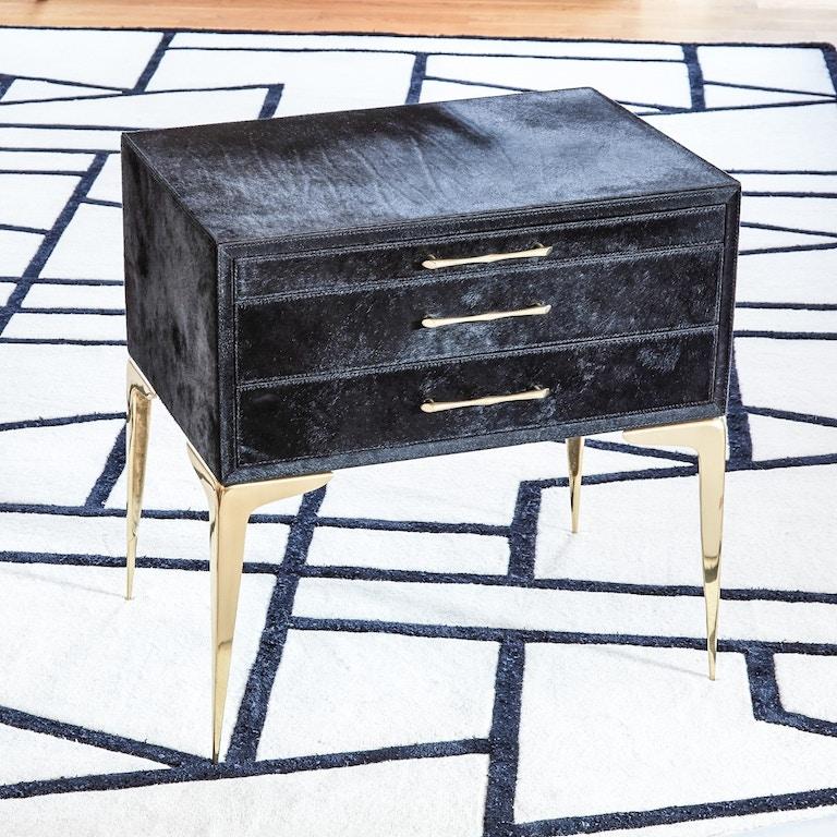 Stiletto Bedside Table Black Hair On Hide