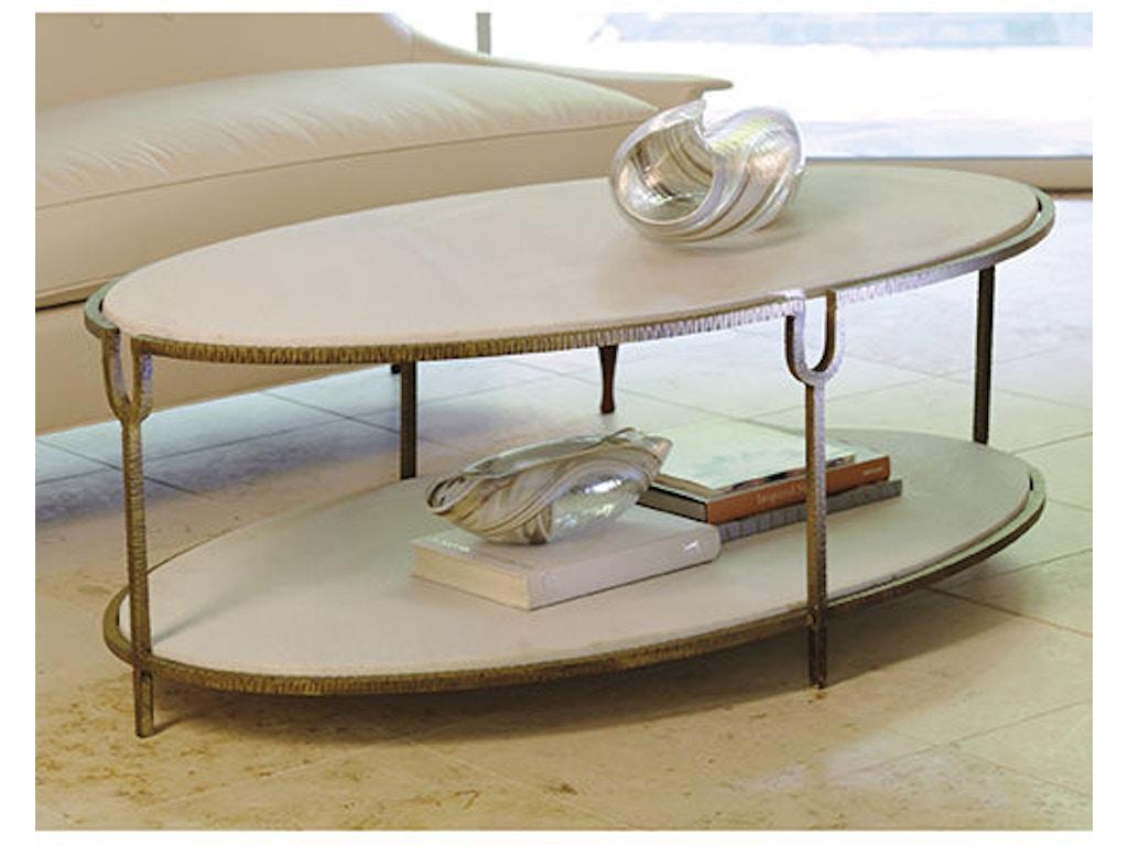 Global Views Living Room Iron Stone Oval Coffee Table Gv991786 Walter E Smithe Furniture Design