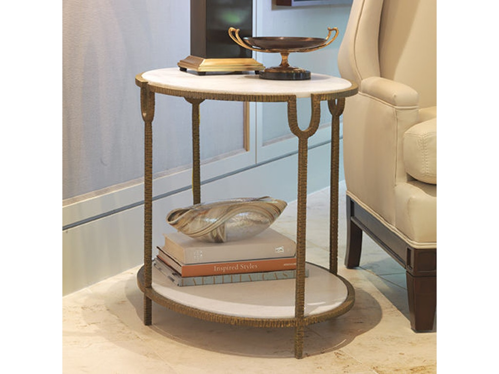 Global Views Living Room Iron/Stone Side Table GV991787 Walter E  Smithe  Furniture + Design