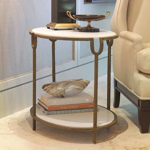 Global Views Iron/Stone Side Table GV991787 From Walter E. Smithe Furniture  + Design