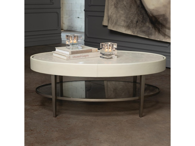 Global Views Living Room Ellipse Cocktail Table Ivory