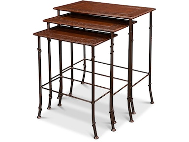 Sarreid Kew Gardens Leather Nesting Tables 16696