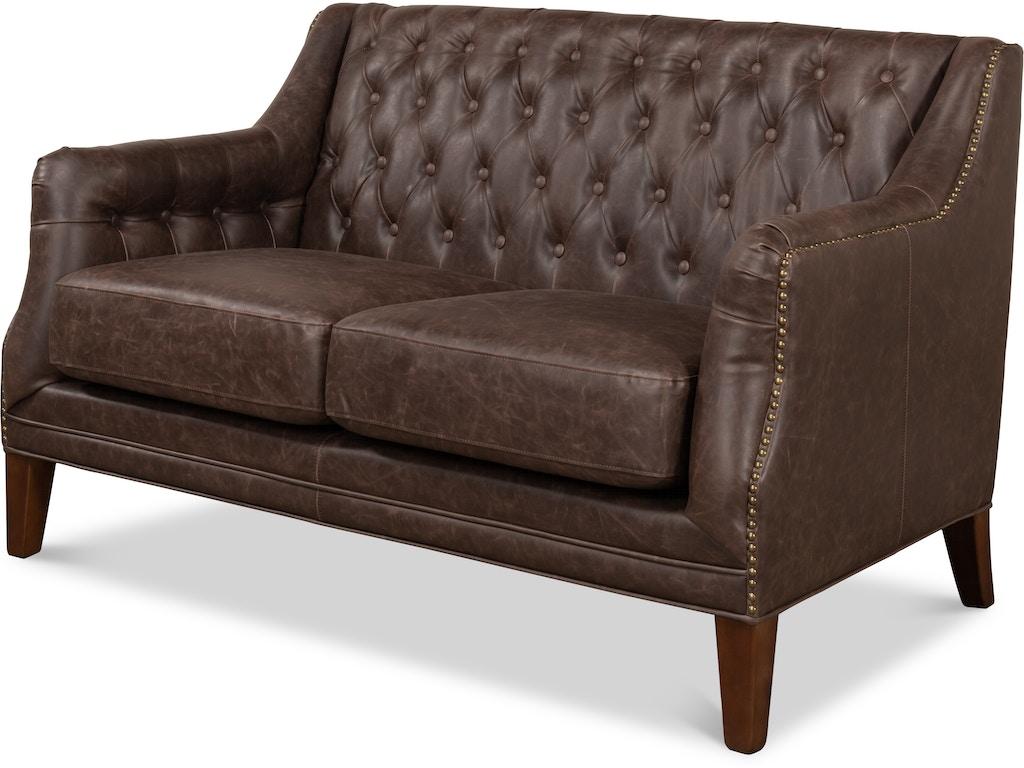 Sarreid Living Room Brooks Leather Tufted 2 Seat Sofa SA28927 Walter E.  Smithe Furniture + Design