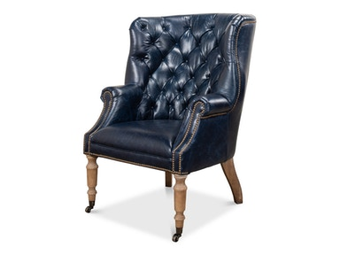 Sarreid Welsh Blue Leather Chair 29727
