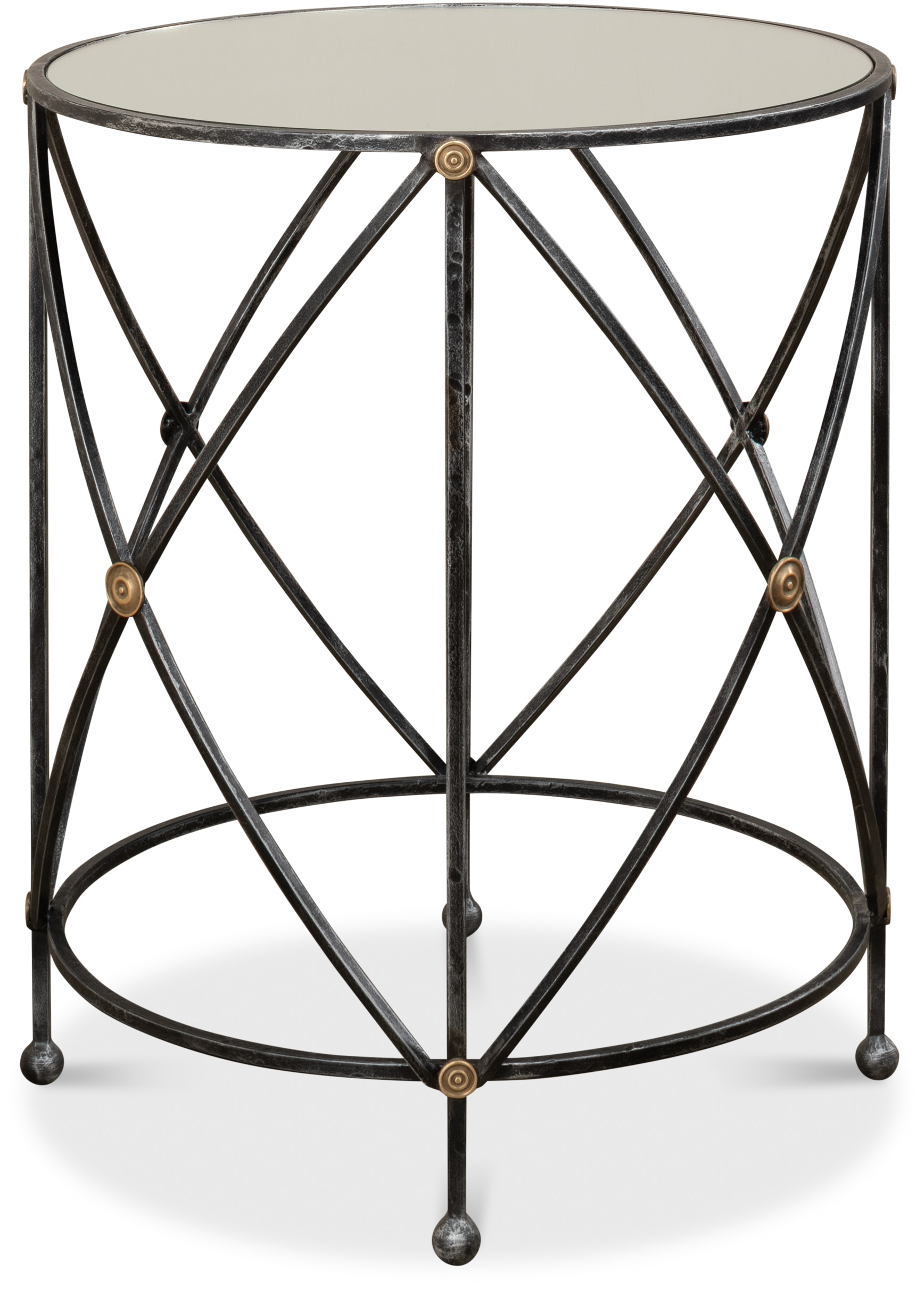 Drum And Fife Lamp Table With Mirror Glass Tp 30259