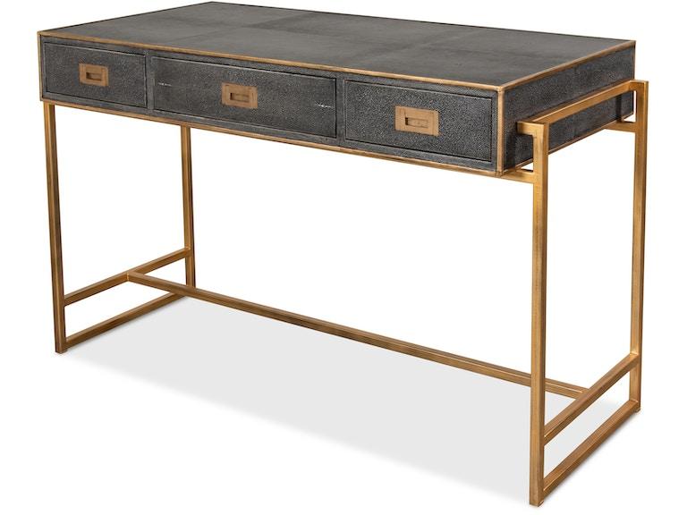 Sarreid Grey Leather Shagreen Desk 40466