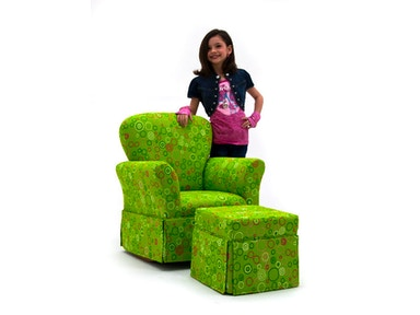 Kidz World Furniture Skirted Rocker with Ottoman 1920-Skirted Rocker with Ottoman-Generic Furniture