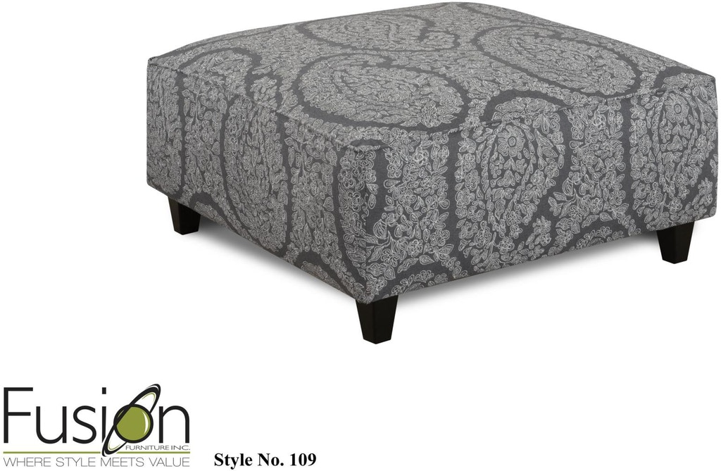 Brilliant Fusion Living Room Cocktail Ottoman 109Ella Pewter Hennen Gmtry Best Dining Table And Chair Ideas Images Gmtryco