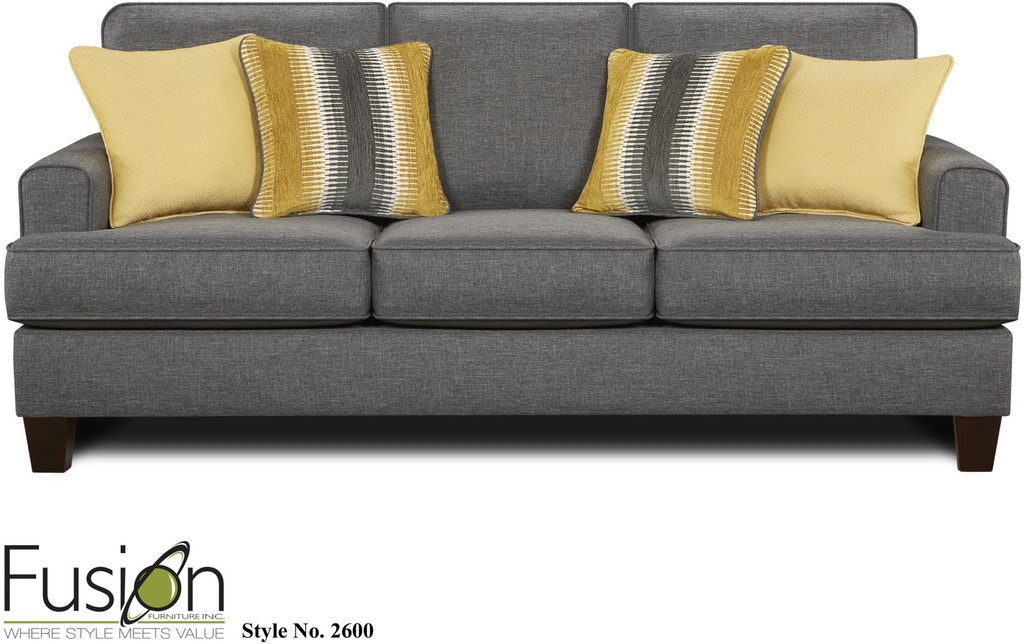 Fusion Living Room Sofa 2600 Maxwell Gray Dewey