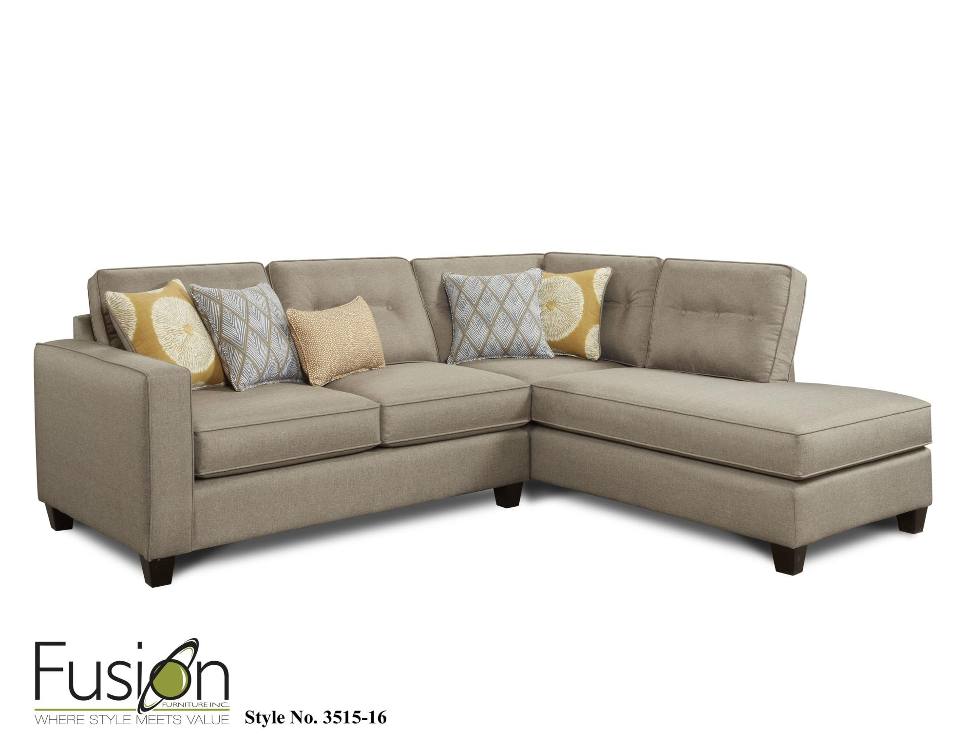 Fusion Living Room Left Arm Facing Sectional 3515 MAXWELL TAUPE At B.F.  Myers Furniture