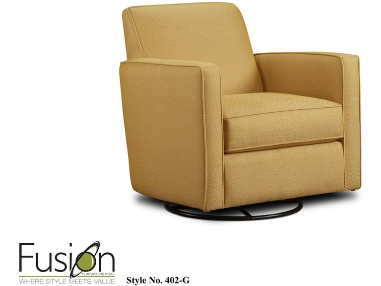 Fusion Living Room Swivel Glider Chair 402 Ggold Mine Citrine At Dewey Furniture