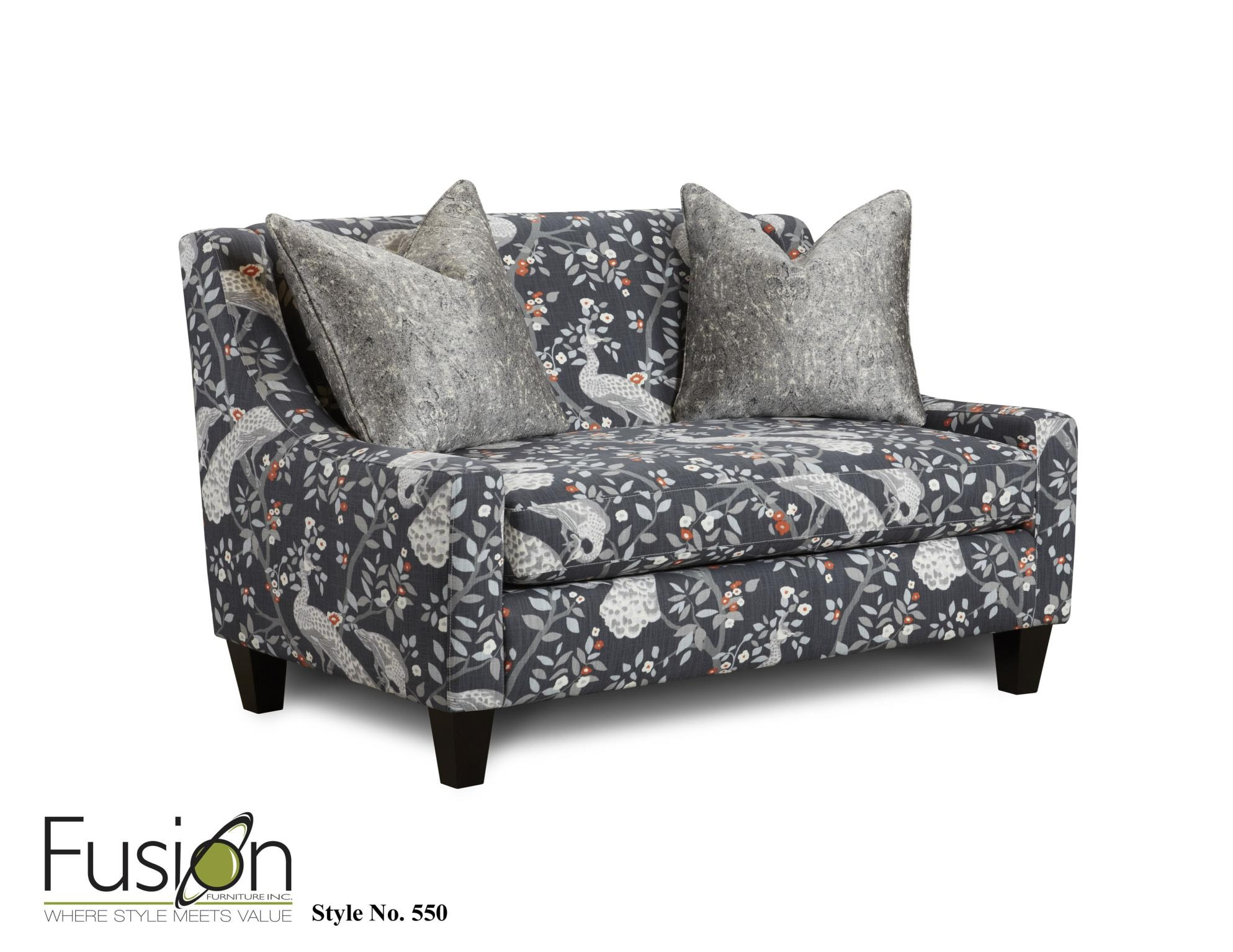 Fusion Living Room Settee 550PLUME REDUX STORM At B.F. Myers Furniture