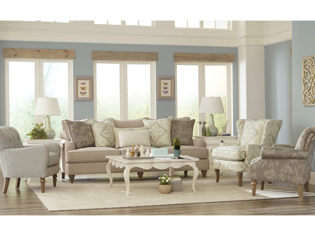Paula deen by craftmaster living room sofa p773654bd gibson furniture andrews nc for Paula deen living room furniture