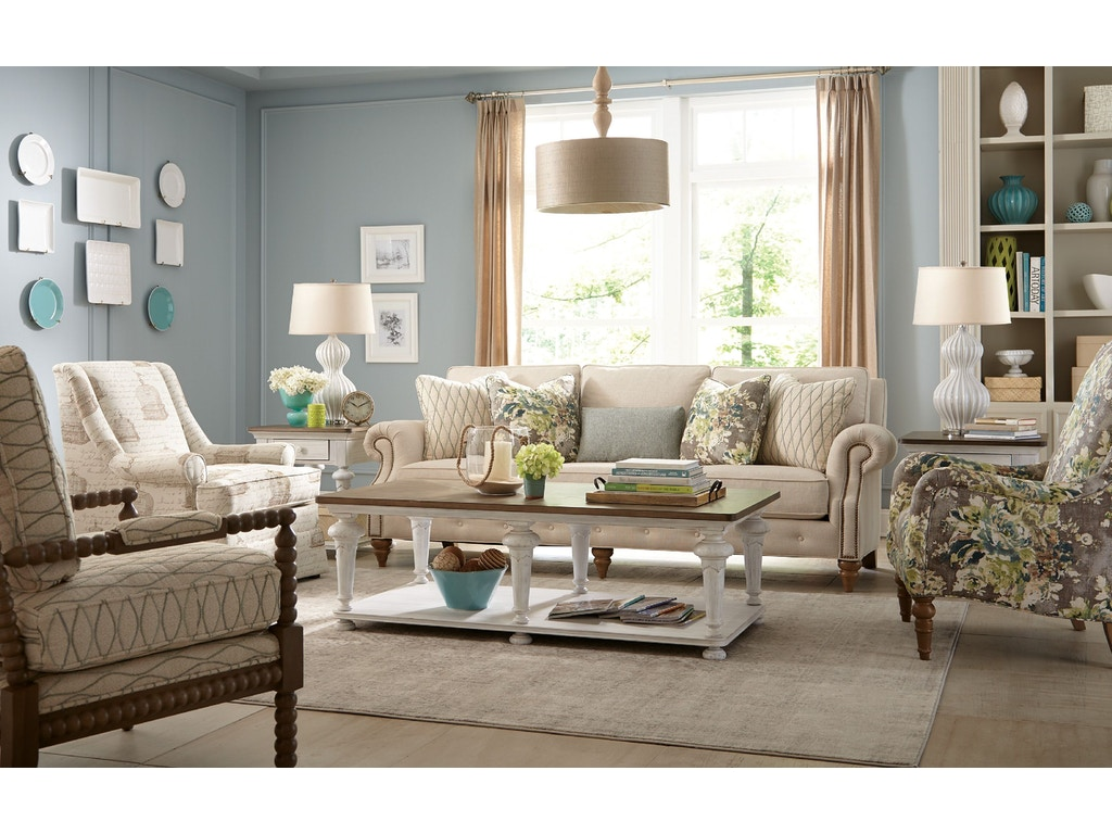 Paula deen by craftmaster living room sofa p763250bd seaside furniture toms river brick and for Paula deen living room furniture