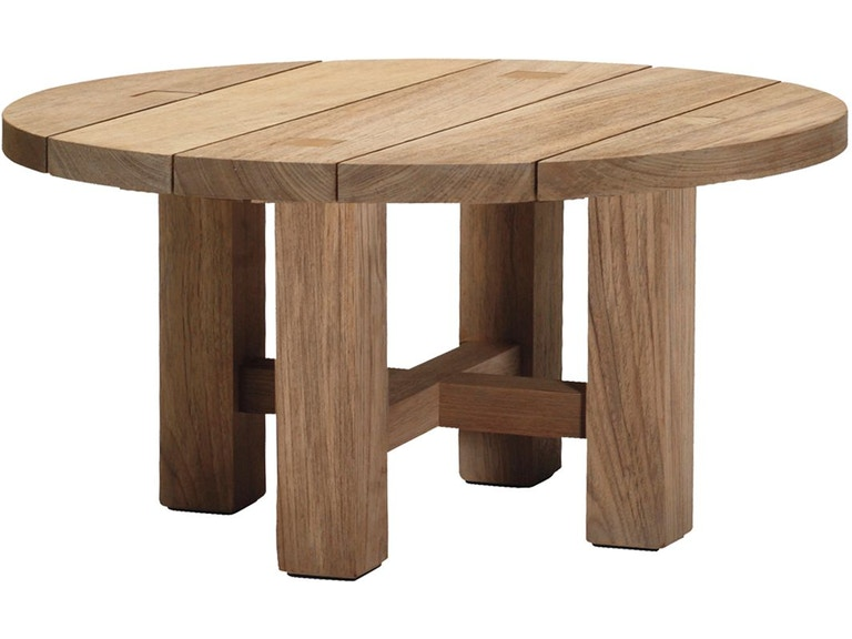 Summer Clics Outdoor Patio Croquet Teak Round Coffee Table 28394 At Creative Interiors And Design