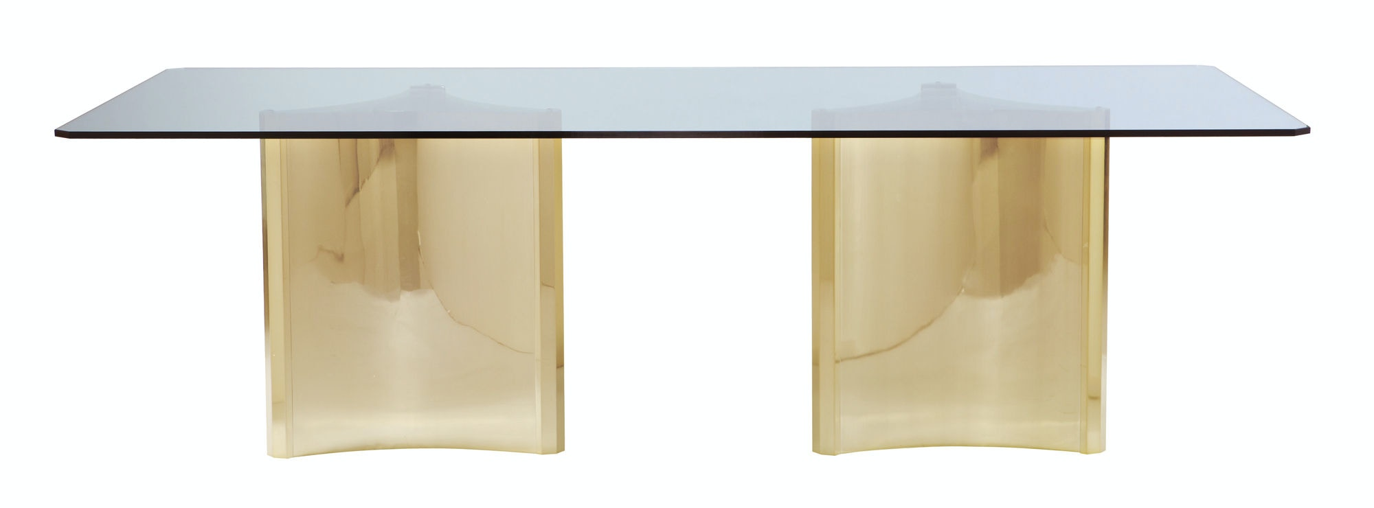 Bernhardt Interiors Metal Dining Table With Glass Top 326 1050/ 353 772