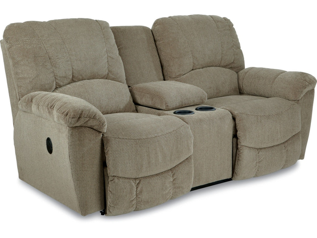 La Z Boy Living Room Power La Z Time Full Reclining Loveseat With Console 49p537 Hickory