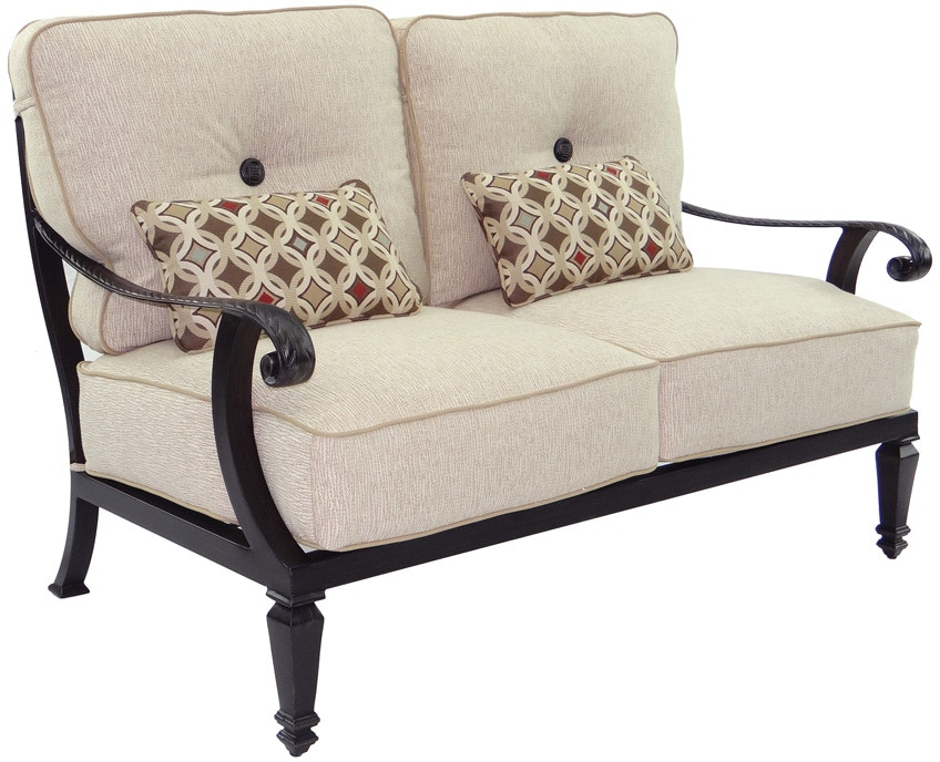 Castelle Outdoor/Patio Cushioned Loveseat With/Two Kidney Pillows 2611T - Zing Casual Living ...