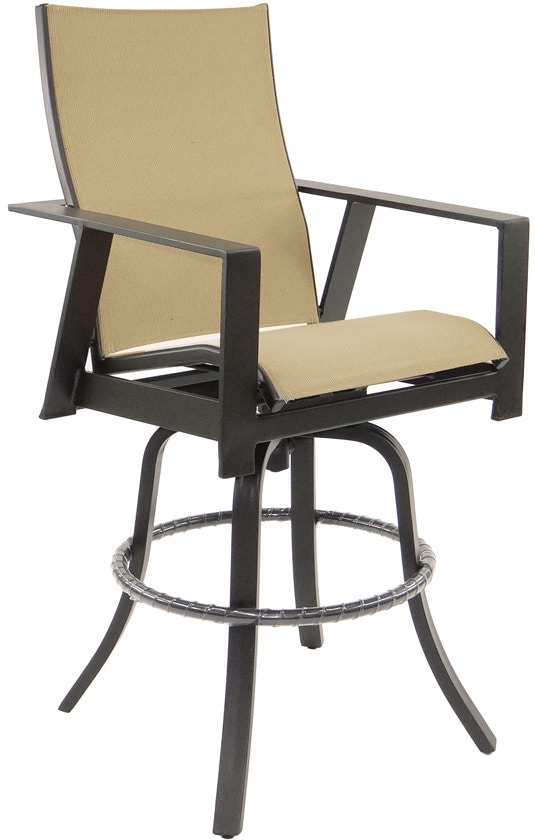 Castelle Outdoor Patio High Back Sling Swivel Bar Stool