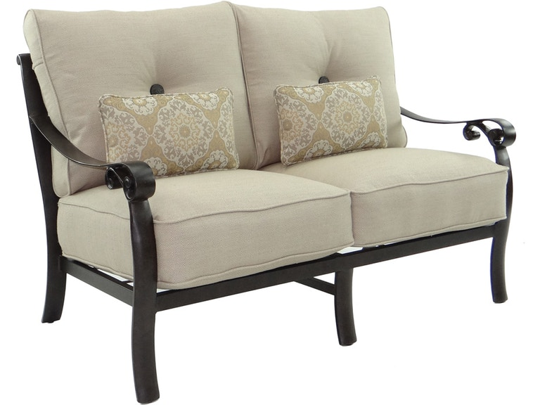 Castelle Outdoor Patio Cushioned Loveseat With Two Kidney