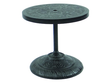 "Castelle 24"" Round Cast Top Side Table W/Built in Cast Umbrella Base