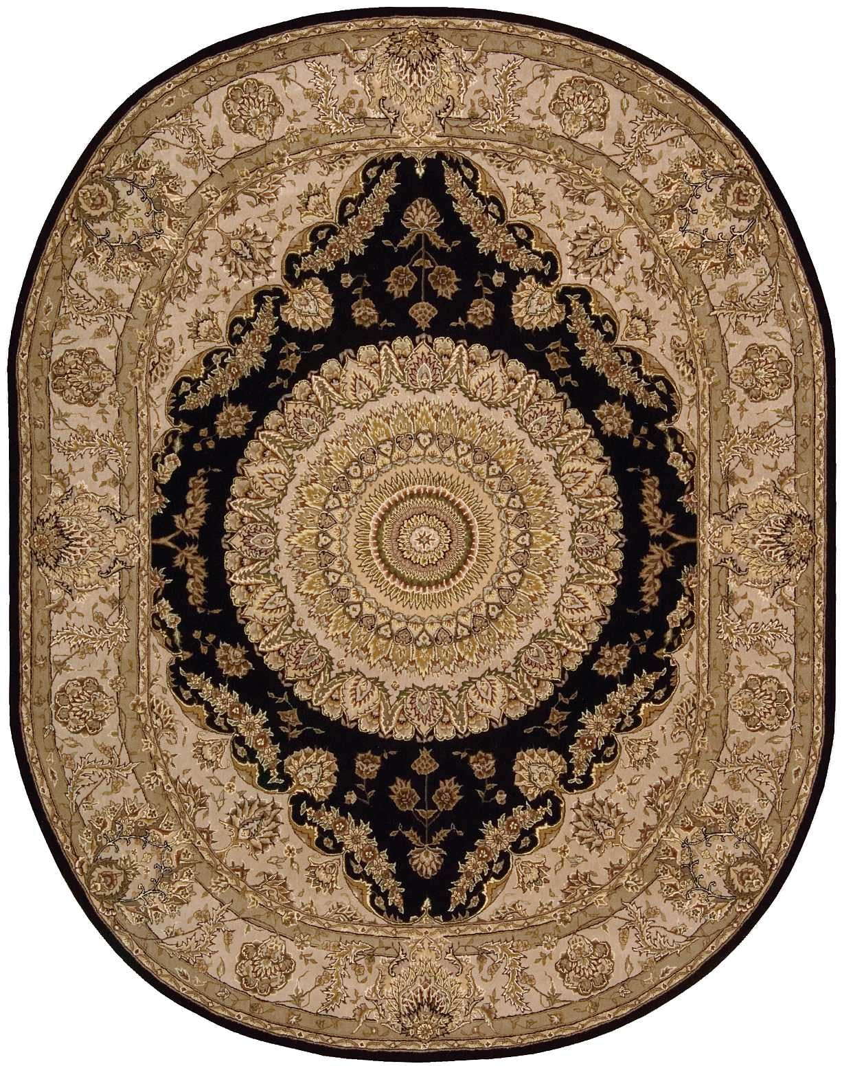 Image of: Nourison Floor Coverings 2000 2233 Black 10 Oval Area Rug 099446535542 Aminis