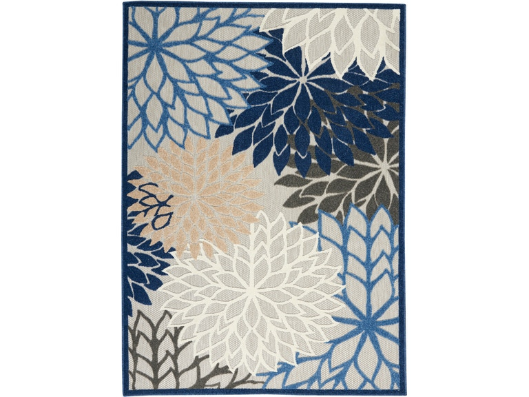 Aloha 5 X8 Blue Patio Area Rug