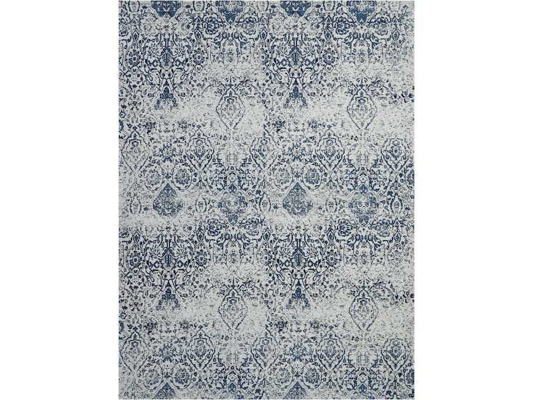 Damask Das06 Dark Blue And White 9 X12 Oversized Flat Weave Rug 99446316400