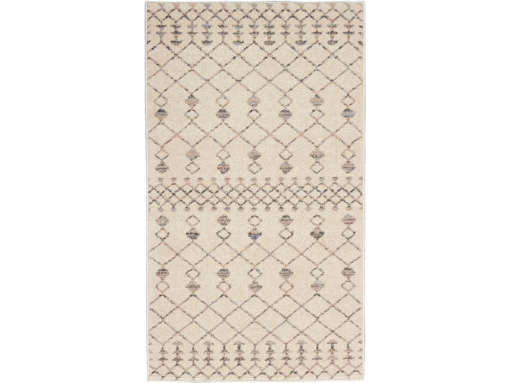 Nourison Floor Coverings Palermo 2 X 4 Beige And Grey Distressed Bohemian Area Rug 099446719836