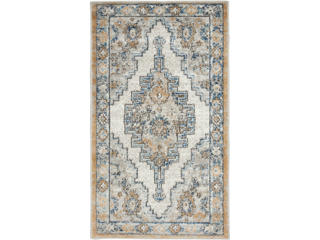 Nourison Floor Coverings Concerto Cnc09 Grey Light Blue Area Rug Flag City Furniture And Bedding