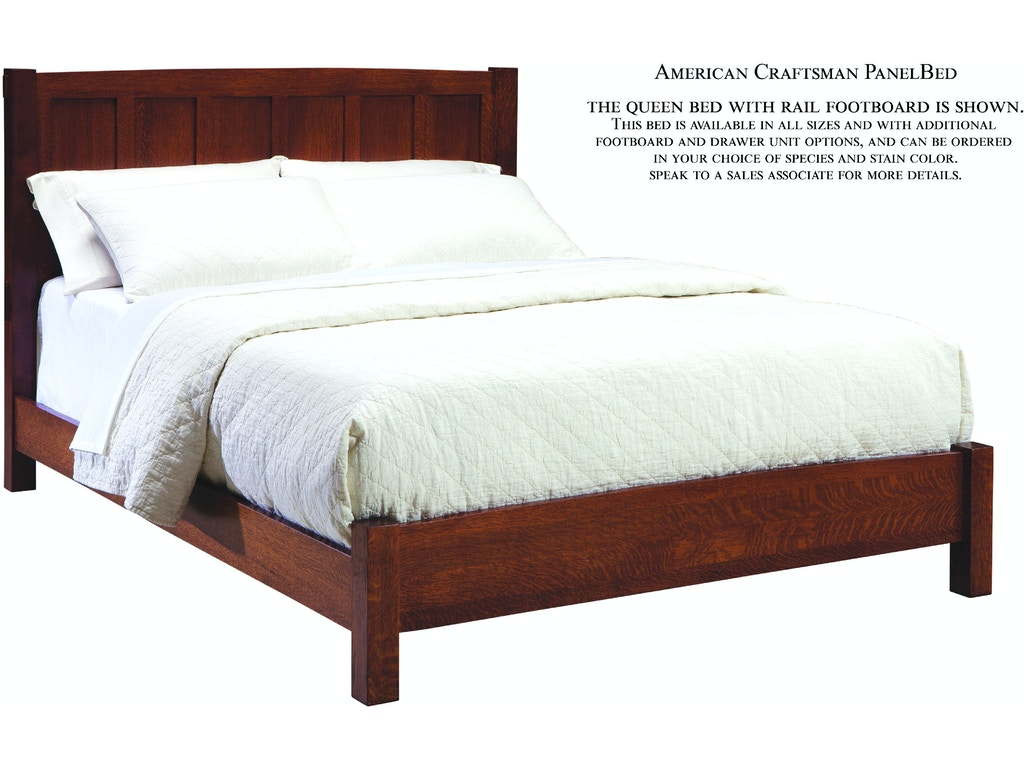 American craftsman panel bed with both side drawers for Craftsman bed