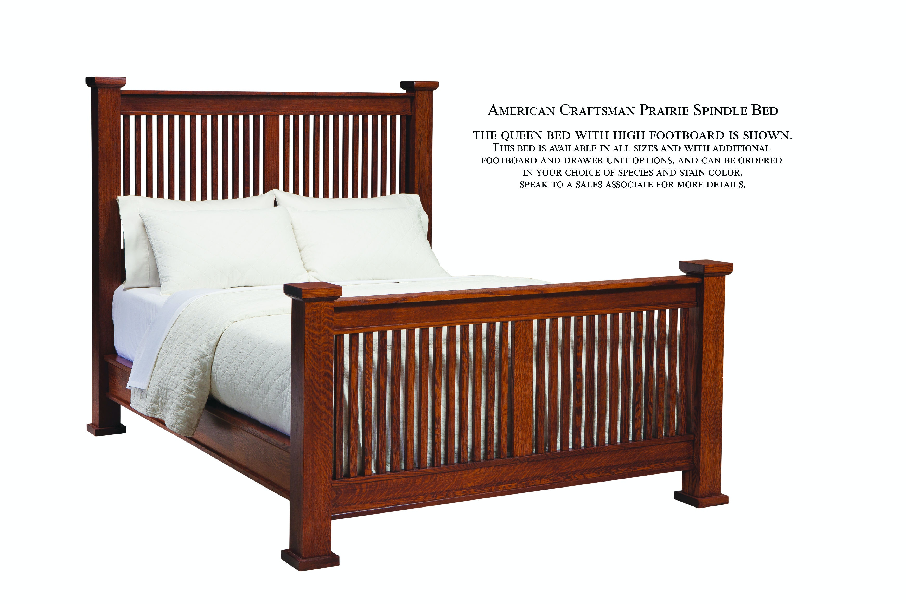 Palettes By Winesburg Prairie Spindle Bed With Rail Footboard American  Craftsman Prairie Spindle Bed With Rails