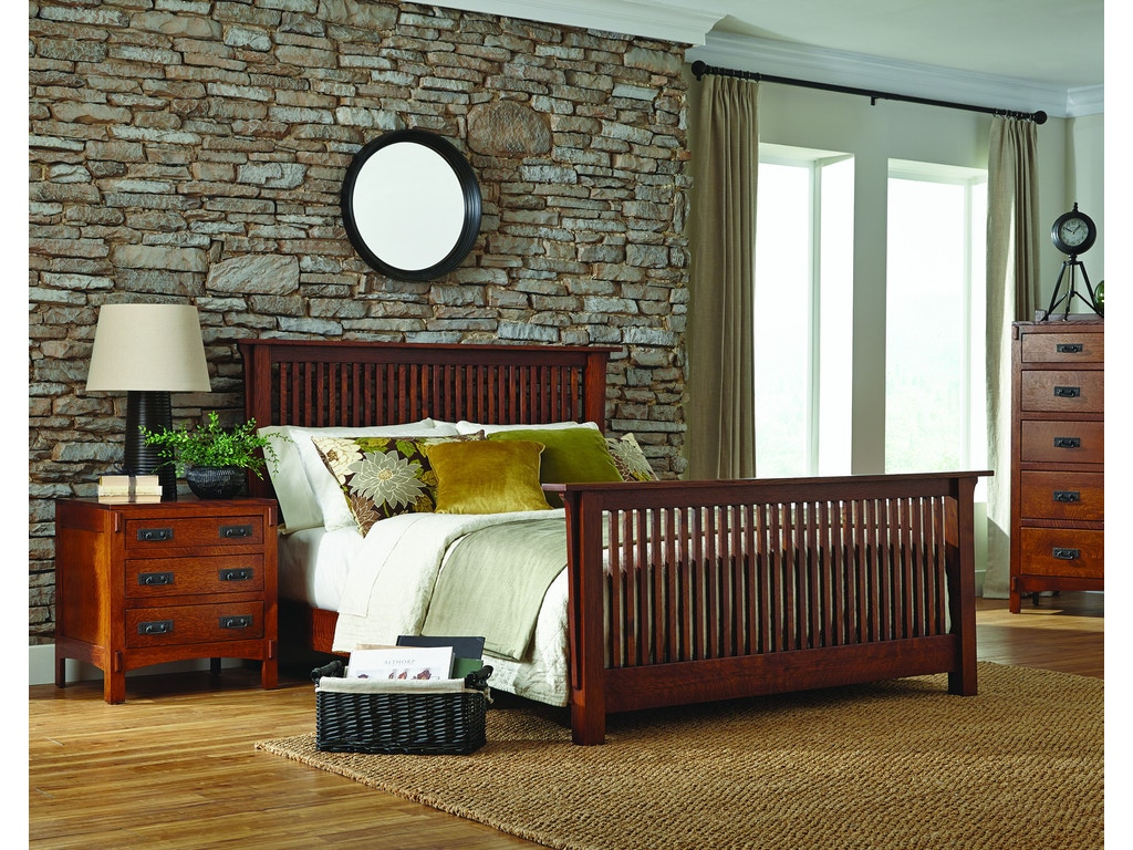 Palettes By Winesburg American Craftsman Spindle Bed With Both Side Drawers Bedroom