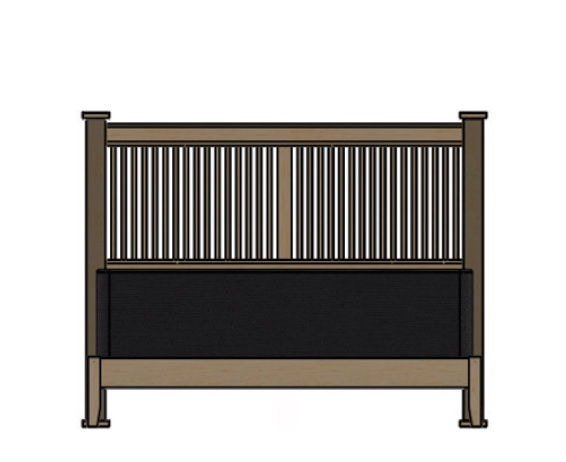 Palettes By Winesburg Prairie Spindle Bed With Rail Footboard 09532
